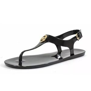 Michael Kors Jelly Thong Sandals 8 Black Gold
